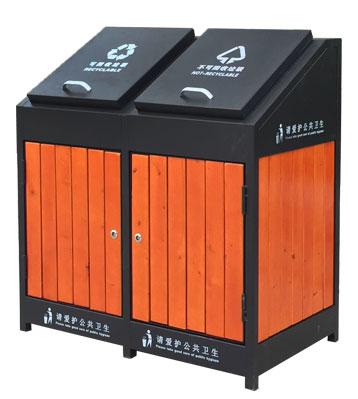 G38户外钢木分类垃圾桶