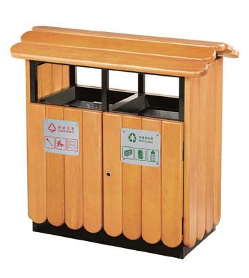 G43屋形钢木分类垃圾箱