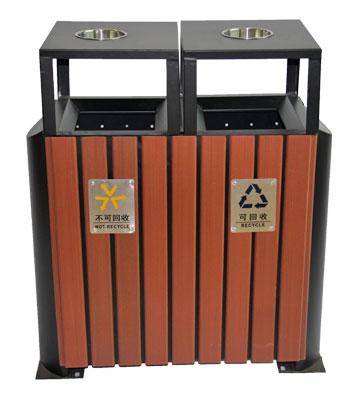G61环保钢木分类垃圾桶