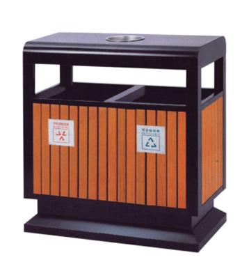 G63户外钢木分类垃圾箱