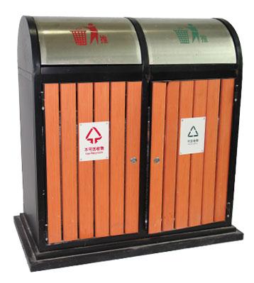 G65推盖钢木分类垃圾桶