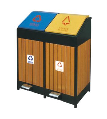 脚踏式环保钢木分类垃圾桶-欣方圳脚踏式垃圾桶定制