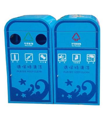 F206钢板喷塑分类垃圾箱
