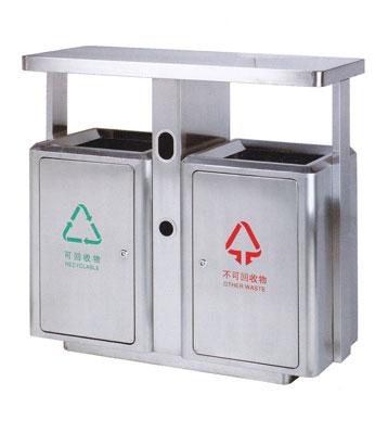 产品材质:砂钢分类垃圾桶采用201#