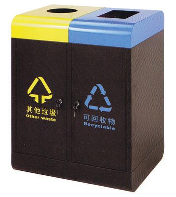 两联分类垃圾桶