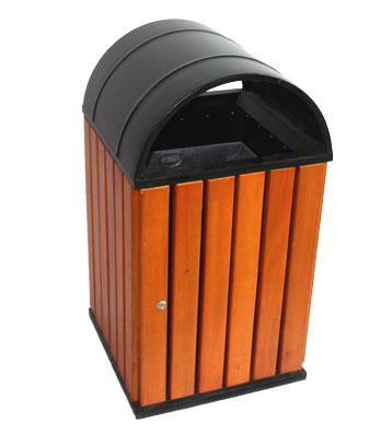 产品名称:圆弧顶方形钢木单桶垃圾桶