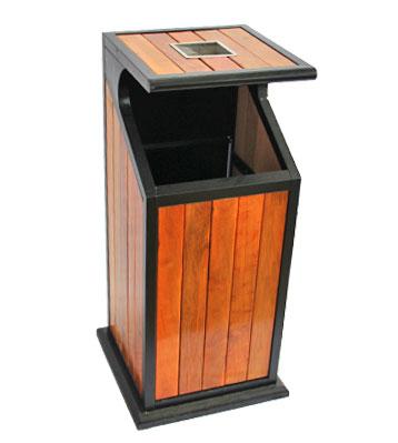 公园方形户外钢木单桶垃圾桶-欣方圳户外钢木垃圾桶