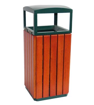 户外钢木单桶垃圾桶-欣方圳钢木垃圾桶厂家