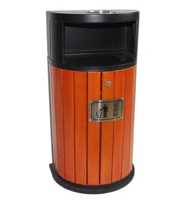 产品名称:户外靠墙式钢木单桶垃圾桶