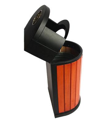 户外靠墙式钢木单桶垃圾桶-欣方圳钢木垃圾桶厂家