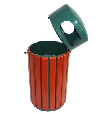 g27圆形钢木单桶垃圾桶