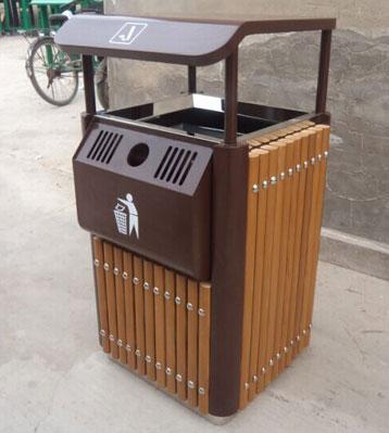 产品名称:户外单桶钢木垃圾桶