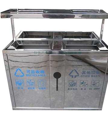 室内双桶不锈钢垃圾桶—欣方圳室内不锈钢垃圾桶厂家