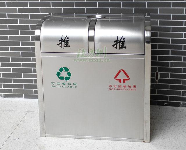 不锈钢环保分类垃圾桶户外摆放图