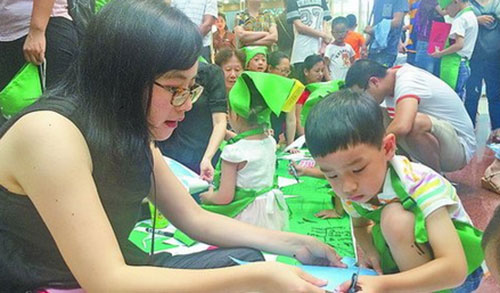 剪纸折垃圾桶 孩子们学习垃圾分类图片