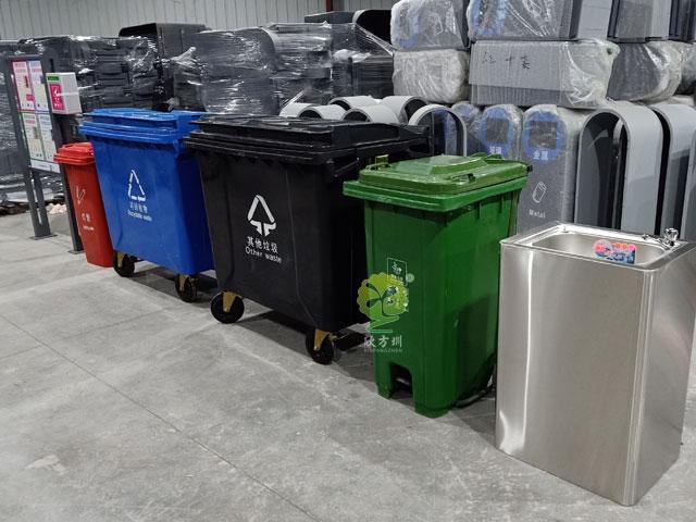 深圳垃圾分lei3.0模式660升塑liao垃圾桶收集rong器