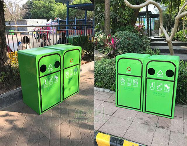 欣方圳钢板喷塑垃圾桶 打造深圳高品质园林