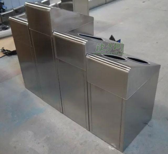 江西南昌商场不锈钢分类环保回收桶欣方圳工厂生产图