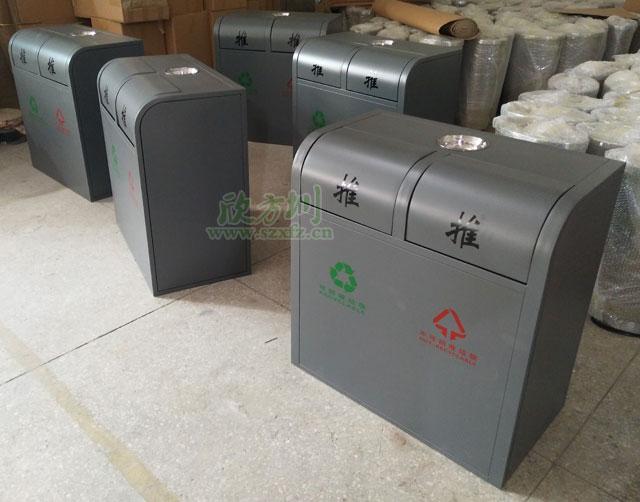 灰色喷su304不锈钢环保分类垃圾tong