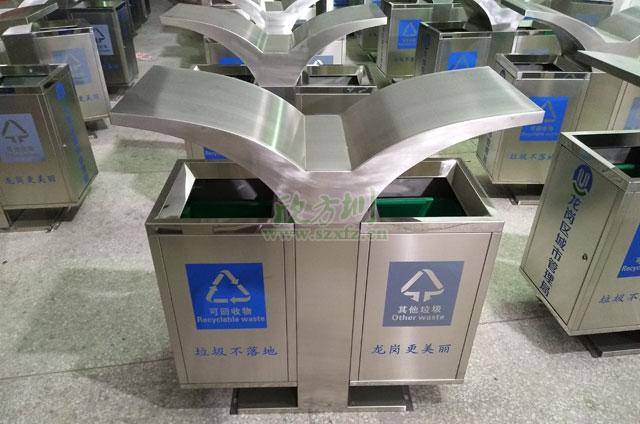 展翅不锈钢垃圾桶厂家款式新颖深圳龙岗城管局定制