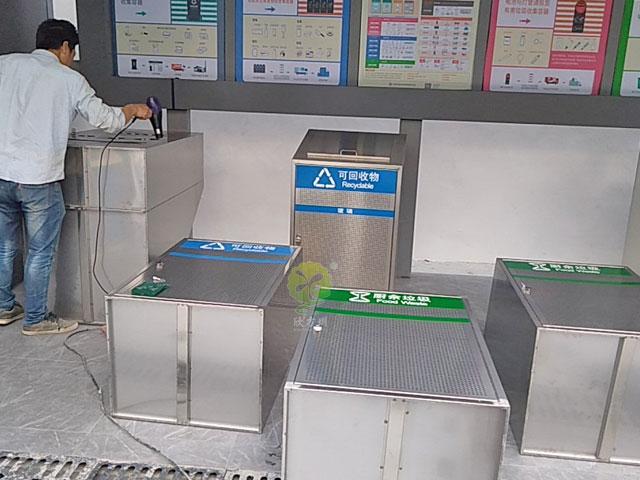城zhong村垃圾分类shi范点不锈钢垃圾分类ting定制