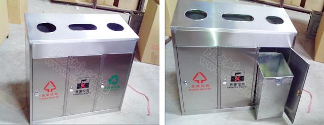 c99三分类不锈钢垃圾桶