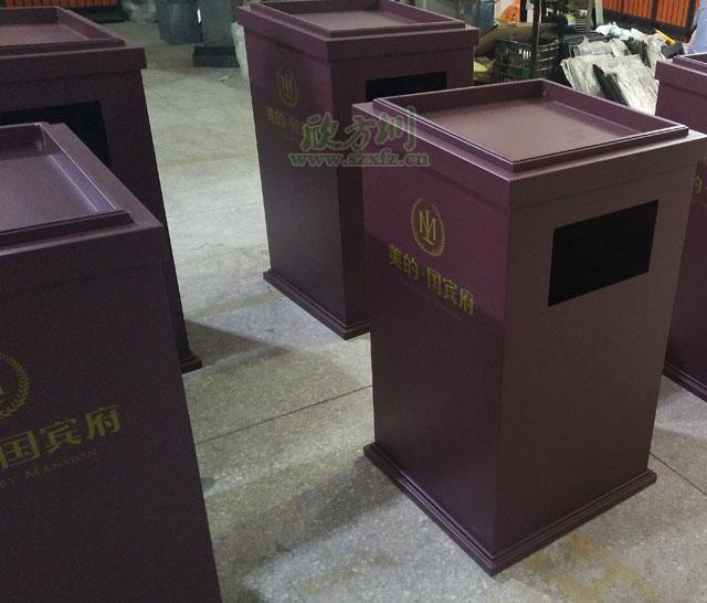 长沙楼盘就选铁皮烤漆垃圾桶美观耐用