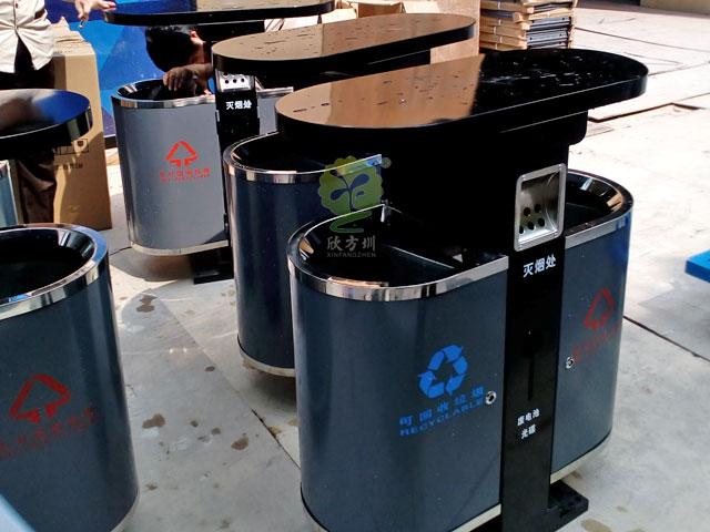 深圳横岗公园采购户外钢板分类垃圾桶