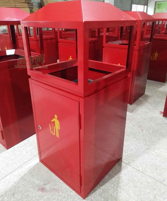 贵州单位钢制烤漆红色户外垃圾桶喜迎国庆