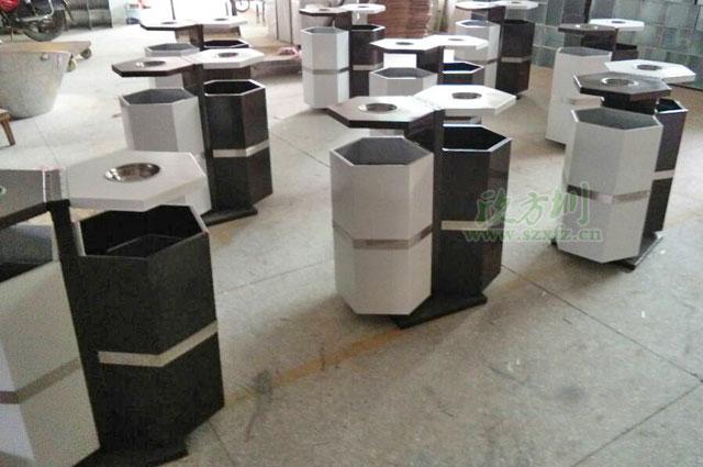 惠州企业采购六边形钢制分类户外垃圾桶工厂生产图