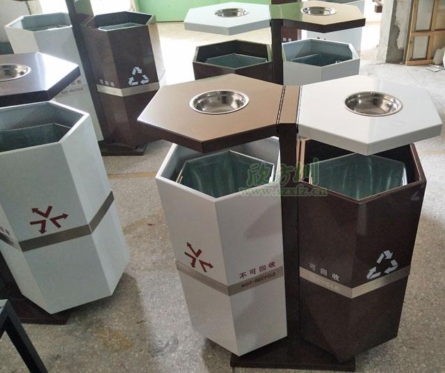 六角钢制垃圾桶厂家为苏州园林户外环境定制