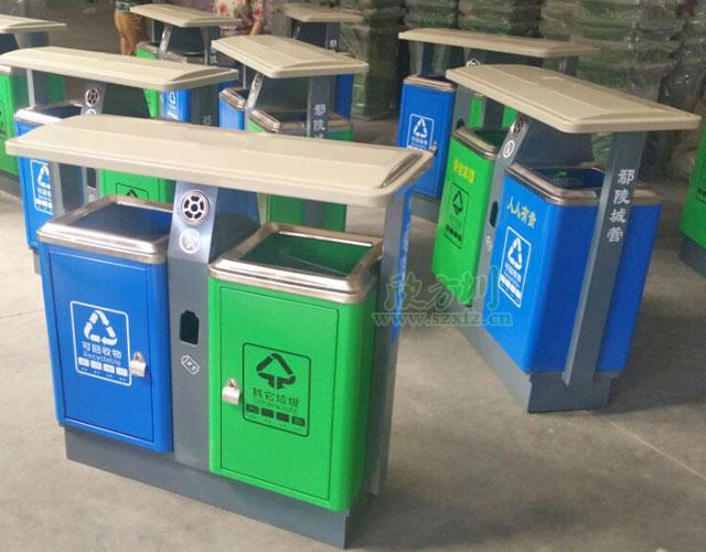 深圳沙井物业钢制环保户外垃圾桶批量生产图