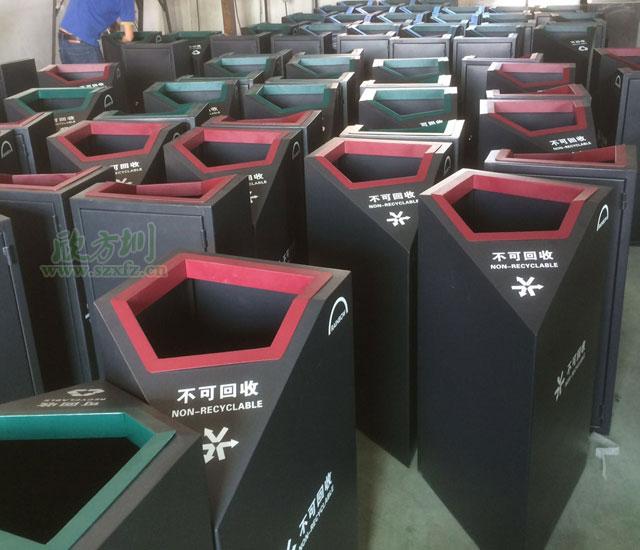 苏州天虹商场钢板喷塑分类垃圾桶厂家生产图