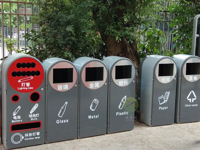 深圳ji关单wei1+5分类垃圾tong玻金su纸垃圾tong有害垃圾现场摆放