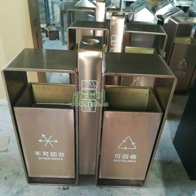 商场jing区户外钢zhi分lei垃圾桶