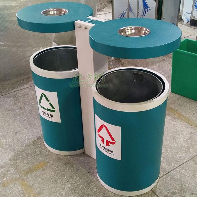 海南三亚景区圆形户外钢制烤漆分类垃圾桶工厂生产图