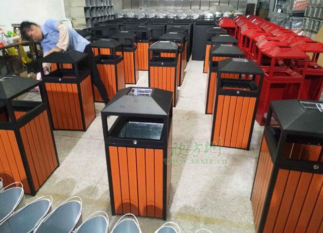 户外钢木垃圾桶远销福建莆田物业