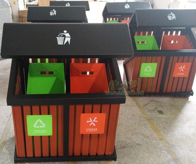 S形户外钢木分类垃圾桶欣方圳工厂生产图