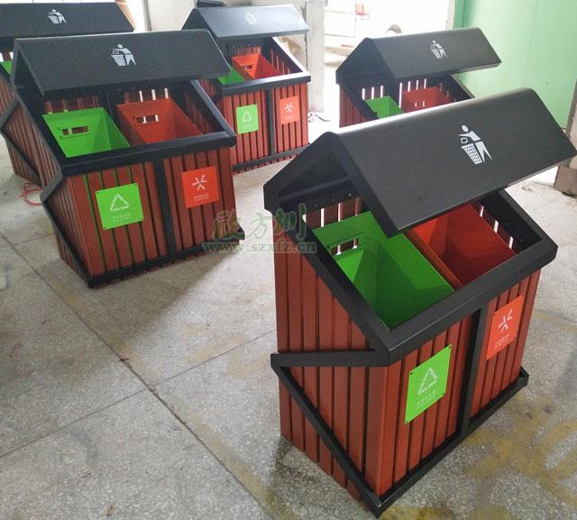 S形户外钢木分类垃圾桶欣方圳批量生产图