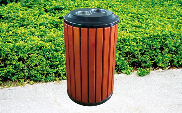 户外街道圆形钢木单桶垃圾桶-欣方圳钢木垃圾桶厂家