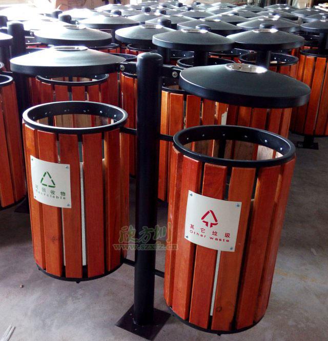 钢木垃圾桶厂家双分类桶清洁惠州海景城小区环境
