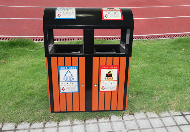 g37校园钢木分类垃圾桶