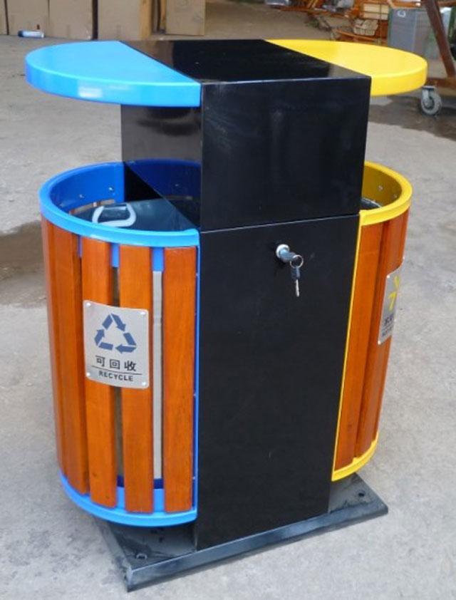 户外椭圆钢木分类垃圾桶厂家制作图
