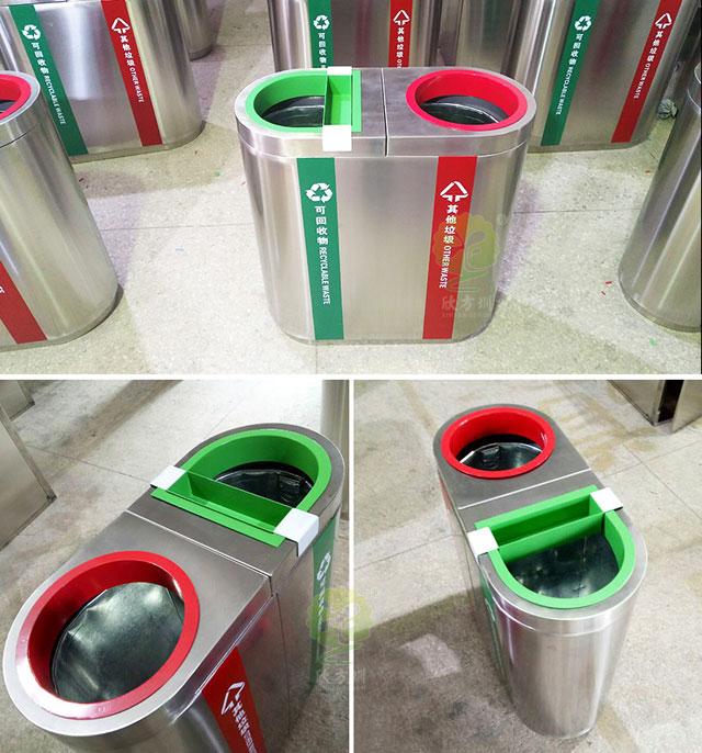 苏州地铁户外2分类精品不锈gang垃圾桶