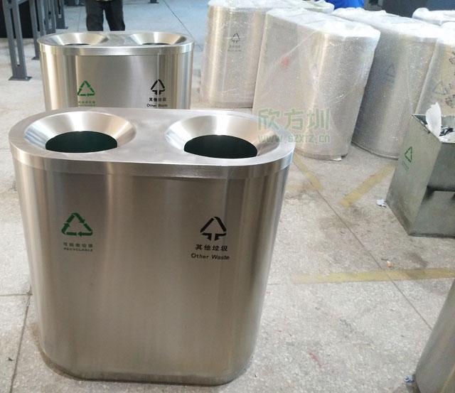 深圳中学xuan购304bu锈钢分类垃圾桶8年bu坏