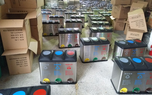 江苏企业写字楼室内不锈钢脚踏垃圾桶分类环保清洁