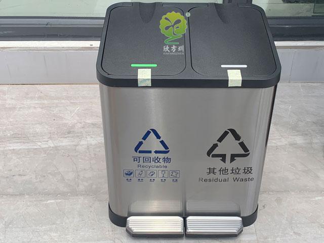 深圳垃圾分类家ting不xiu钢室内分类垃圾桶款式tui荐
