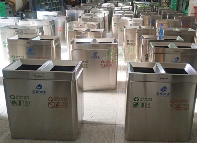 深圳物业不锈钢分类垃圾桶厂家批量生产图
