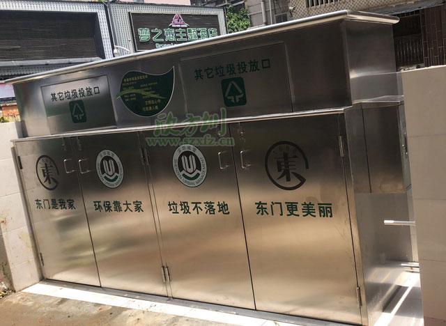 热卖的大型户外不锈钢垃圾收集箱现身东门社区