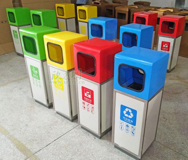 宜春高铁站不锈钢烤漆垃圾桶创造清洁旅途环境